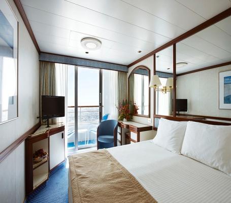 Balkonkabine 16 Qm Vorn Mit Komfortabler Ausstattung Bestehend Aus Zwei  Einzelbetten, Die Sich In Ein Queen Size Bett Umwandeln Lassen, ...